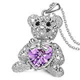 J.NINA Bucci Teddy Bear- Necklace Pendant with Swarovski Crystals Star Hollow Jewelry Birthday Anniversary Mothers Day Graduation Gifts for Wife Girlfriend Daughter Niece Sisters Friends