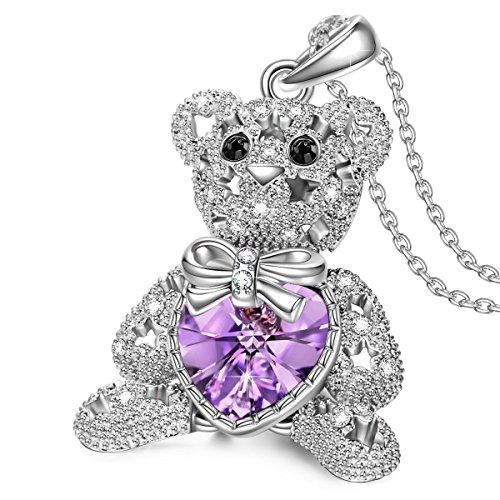 J.NINA Jewelry Gifts for Teen Girls Teddy Bear Heart Necklace Pendant with Swarovski Crystals Valentines Anniversary Birthday Gift for Kids Sister Niece Wife Lover Girlfriend Teacher