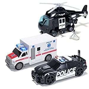 Best Epic Trends 51zE5ksxn1L._SS300_ 3Pcs City Hero Police Vehicle Toy Set, Friction-Powered Police Vehicles with Lights and Sounds Siren for Imaginative…