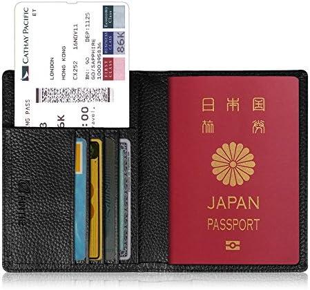 [スポンサー プロダクト]Fintie パスポートケース ホルダー トラベルウォレット スキミング防止 安全な海外旅行用 高級PUレザーパスポートカバー 多機能収納ポケット 名刺 クレジットカード 航空券 エアチケット (ブラック)
