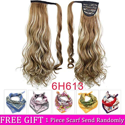 "(22"" Curly Wrap Around Ponytail Hair Extensions Long Wavy Clip in Synthetic Hair Ponytail Hairpieces for Women 120g Ponytail Easy to Wear(Wavy-6H613#))"