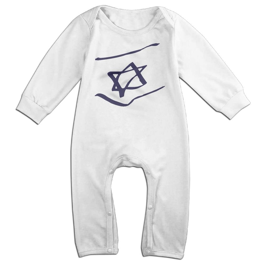 Mri-le1 Toddler Baby Boy Girl Long Sleeved Coveralls Abstract Israel Flag Infant Long Sleeve Romper Jumpsuit
