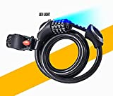 BoG Products 4.5′ BIKE CABLE LOCK WITH LIGHT 1/2 Self Coiling Combination Cable with Soft Plastic Coating. Review