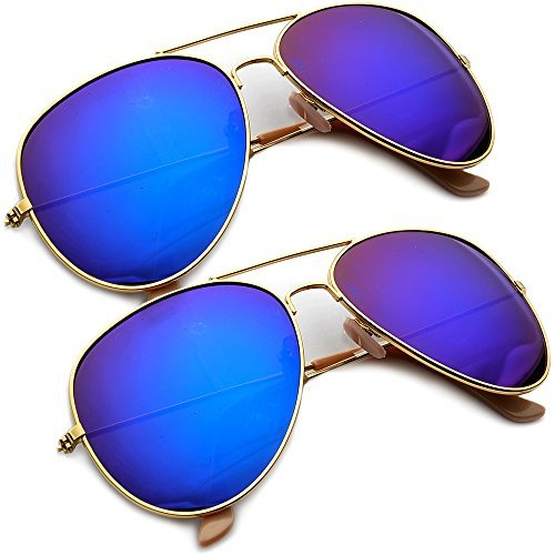 Teardrop Gold Frame (Gold Frame Flash Mirrored Revo Lens Large Teardrop Aviator Sunglasses (2 Pack Gold/Midnight))