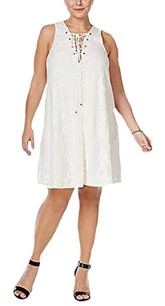 Soprano Women\'s Trendy Plus Size Lace-Up Shift Dress-2X ...