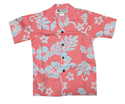 Made in Hawaii ! Boy's Classic Hibiscus Hawaiian Aloha Shirt (6, Melon/Light Blue)