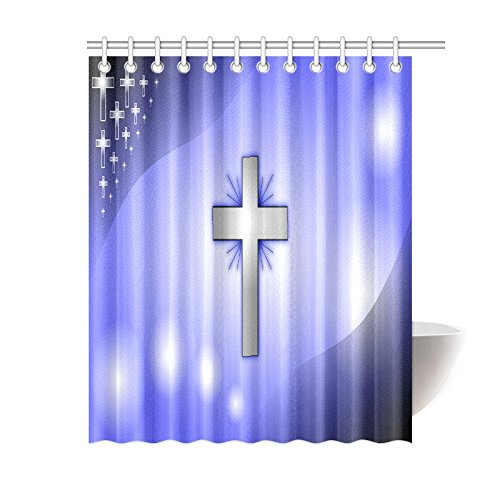 Catholic Christian Religious Church Gifts Cross Waterproof Bathroom decor Fabric Shower Curtain Polyester 60 x 72 inches by Christian Shower Curtain