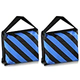 SODIAL(R) Set of Two Black/Blue Heavy Duty Sand Bag Photography Studio Video Stage Film Sandbag for Light Stands Boom Arms Tripods