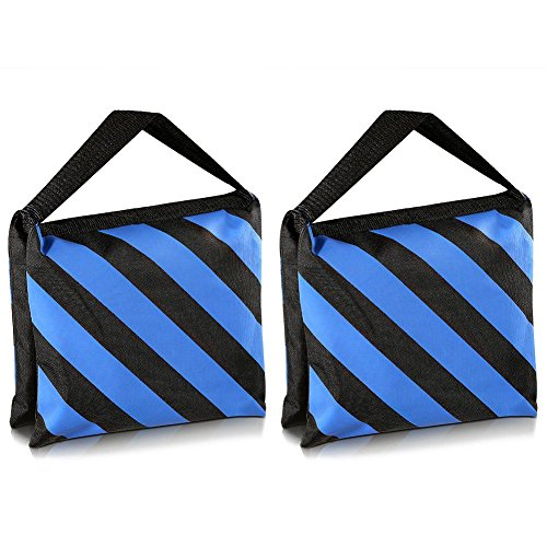SODIAL(R) Set of Two Black/Blue Heavy Duty Sand Bag Photography Studio Video Stage Film Sandbag for Light Stands Boom Arms Tripods by SODIAL(R)