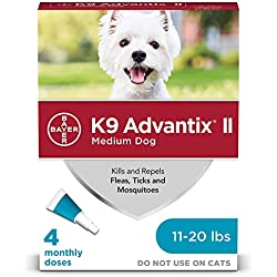Bayer K9 Advantix II Flea, Tick and Mosquito Prevention for Medium Dogs, 11 - 20 lb, 4 doses