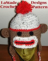 Sock Monkey Hat Crochet Pattern with Ear Flaps and Braids for Teens and Adults