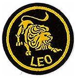 Leo Zodiac Horoscope embroidered Patch (Black/Gold) 5cm Dia by Klicnow