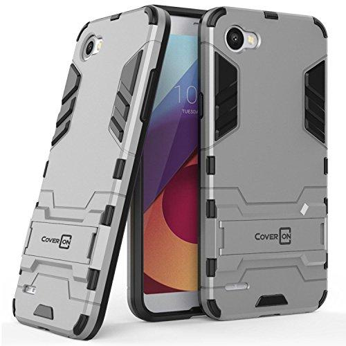 LG Q6 Case, LG Q6 Plus Case, LG Q6a Case, CoverON Shadow Armor Series Modern Style Slim Hard Hybrid Phone Cover with Kickstand Case for LG Q6 / Q6 Plus / Q6a - Silver