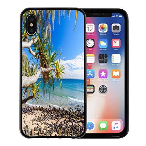 Semtomn Phone Case for Apple iPhone Xs case,Blue Australia Noosa National Park on Queensland Sunshine Coast Green Beach for iPhone X Case,Rubber Border Protective Case,Black