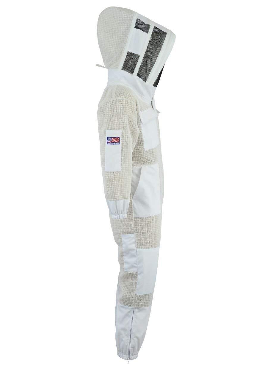 BeeSuits SFVG Tuta da Apicoltura a 3 Strati in Tessuto Protettivo Bianco Unisex Ultra ventilato di Sicurezza con Guanti GRATUITI Abito da Apicoltore Velo da Scherma