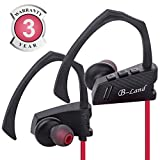 Bluetooth Headphones, B-Land Best Wireless Sports Earbuds with Mic, IPX5 Sweatproof Headsets HD Stereo Wireless Headphones for Running, Gym & Workout (Black/Red) For Sale