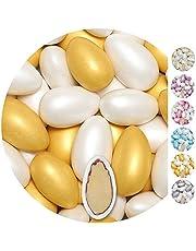 EinsSein 1kg Suiker amandelen bruiloft Conchiglia Mix wit-goud metaalachtig mat suikerbonen wit bruitssuiker dragees confetti kleuren pure omhuld coating suikerlaagje boontjes geboorte communie candy