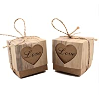 VGOODALL Candy Boxes,100pcs Wedding Favor Boxes,Love Kraft Bonbonniere Paper Boxes with Burlap Jute Twine for Bridal Shower Wedding Birthday Party Wedding