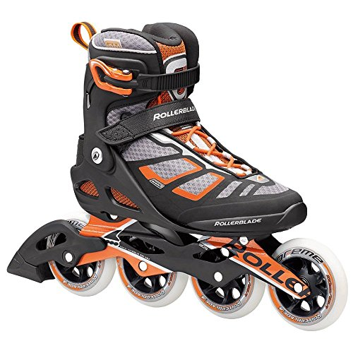 Rollerblade 16/17 Macroblade 100 Fitness/Workout Skate with 100mm Wheels, Black/Orange, US Size 9