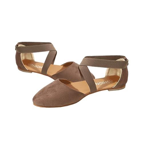Sandalias Apuntado Planos Gamuza Cerradas Mujer Zapatos Tuc5J3lFK1