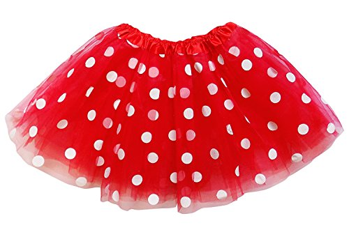 Adult Polka Dot (So Sydney Kids, Adult, or Plus Size Polka Dot Tutu Skirt Halloween Costume Dress (L (Adult Size), Red & White Minnie))