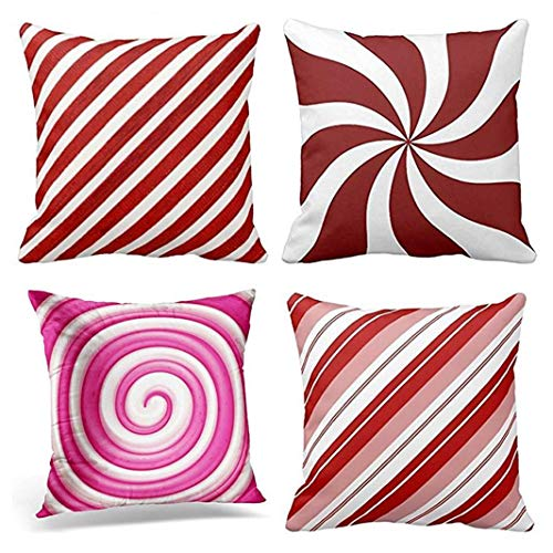 Emvency Set of 4 Throw Pillow Covers Stripe Pattern Peppermint Candy Swirl White Generic Christmas Candycane Red Decorative Pillow Cases Home Decor Square 18x18 Inches Pillowcases