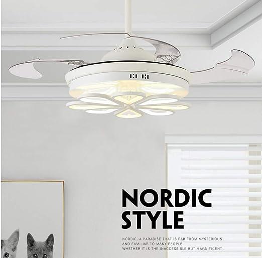 Ventiladores de techo con lámpara 36W Tres colores regulables, luz ...