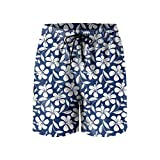 Blue White Tropical Hibiscus Flowers Mens Quick Dry Beach Shorts Drawstring