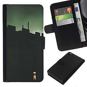 KLONGSHOP // Tirón de la caja Cartera de cuero con ranuras para tarjetas - Verde Ventana Significado Profundo - HTC DESIRE 816 //