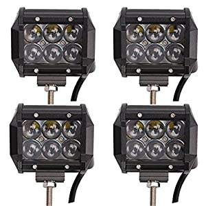 LEDHOLYT 4PCS 4in 18W Cree LED Work Car Spot Light Bar Mounting Bracket for SUV Boat 4x4 Jeep Driving Lamp 4D Optics Lens