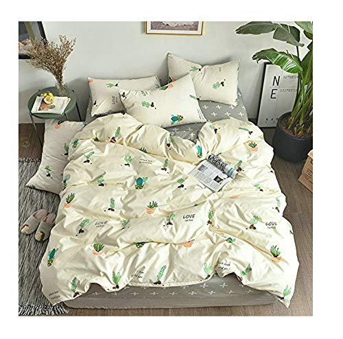KFZ Bed Set 3pcs Bedding Duvet Cover Flat Bedsheet Pillowcase No Comforter DL Twin Size Sheet Sets Cactus Garden Design for Kids Adults Teens (Cactus Garden, Pink, Twin,58