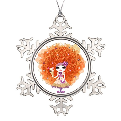 Dobend Xmas Trees Decorated with funny girl character Photo Christmas Snowflake (Red Haired Characters Halloween)