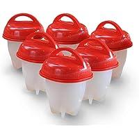 Ogquaton YTH Egg Cooker-Plastic Braconniers pour oufs durs, coquetiers comme VU sur LA TÉLÉVISION, Hard u0026 Soft Maker, Faire bouillir des oufs sans la Coque (Pack de 6) (Oeuf en Plastique)