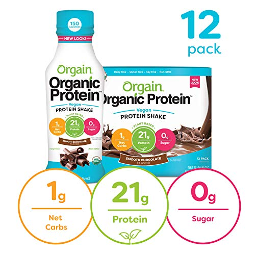 Orgain Organic 21g Vegan Plant Based Protein Shake, Smooth Chocolate - Meal Replacement, Ready to Drink, Non Dairy, Gluten Free, Lactose Free, Soy Free, Kosher, Non-GMO, 14 Ounce, 12 Count