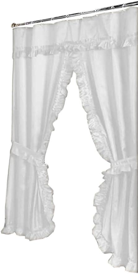 "Lauren Double Swag PEVA Fabric Shower Curtain w// Tie Backs /& Liner 70/"" x 72/"""