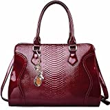 FOXER Women Top Handle Tote Purse Patent Leather Satchel Handbag Shoulder Bag, Red