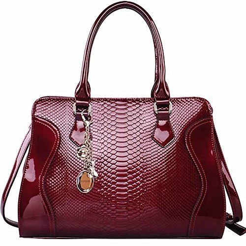 FOXER Women Top Handle Tote Purse Patent Leather Satchel Handbag Shoulder Bag, Red by FOXER