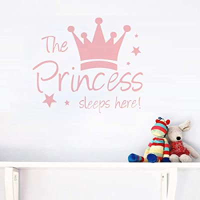 MASCARE Crown Star Wall Decal Princess Sleep Here Wall Sticker Wall Art Decor for Kids Bedroom Baby Nursery Removable Home Background Decoration: Kitchen & Dining