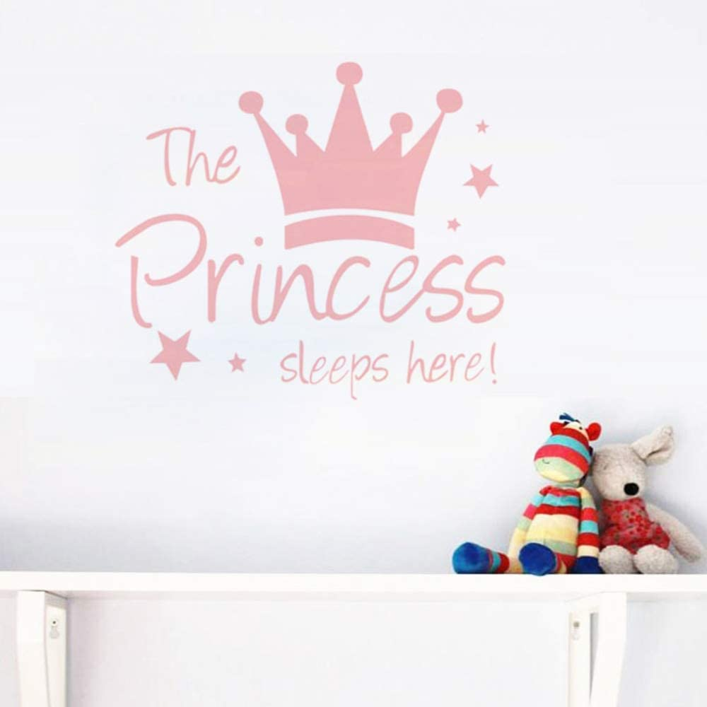 MASCARE Crown Star Wall Decal Princess Sleep Here Wall Sticker Wall Art Decor for Kids Bedroom Baby Nursery Removable Home Background Decoration