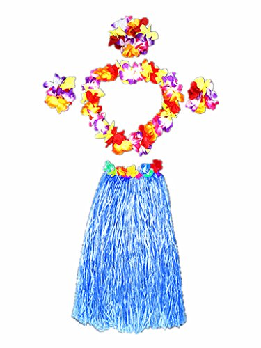 Hawaii Dancing Hula Set Grass Skirt Adult Costume Suit(Skirt color:blue,thicken) -