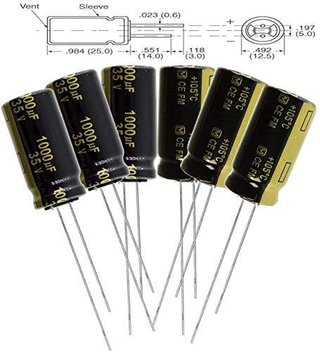 Aluminum Panasonic Electrolytic Capacitors - Panasonic FM 1000uF 35V Low-ESR Aluminum Electrolytic Capacitors - Leaded, 20% Tolerance, 7000 Hours @ 105C, 12.50mm X 20.00mm (Pack of 12)
