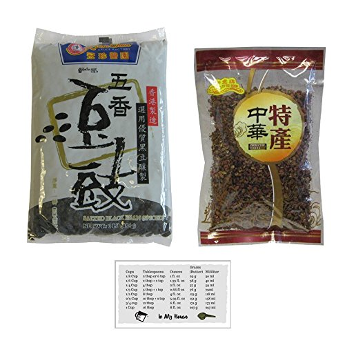 Koon Chun Fermented Black Beans, Chinese Douchi 16 oz and Red Sichuan Peppercorns Whole, Huajiao 4 oz + Bonus Kitchen Measurement Conversion Magnet ()