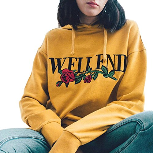 Womens Hoodies Sweatshirt Pullover Rose Floral Print Embroidered Lightweight Casual Long Sleeve Pullover Hoodie Sweatshirt (yellow, (Yellow Embroidered Sweatshirt)
