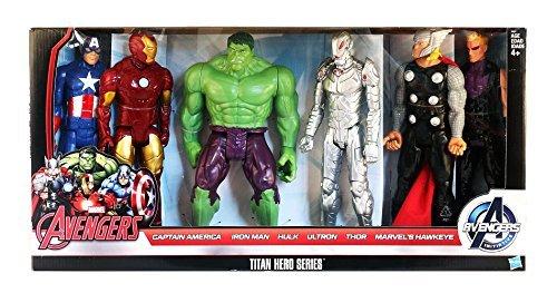 Marvel Avengers Titan Hero Series 6 Pack: Captain America, Iron Man, Hulk, Ultron, Thor, Marvel's Hawkeye