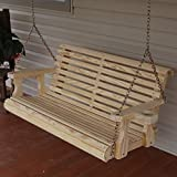 Cafe Amish Heavy Duty 800 Lb Roll Back 5ft. Treated Porch Swing Cupholders