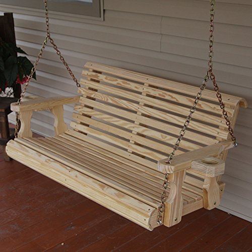 Amish Heavy Duty 800 Lb Roll Back 4ft. Treated Porch Swing With - Wooden Swing Outdoor