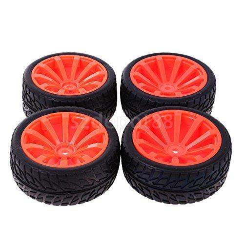 RC Wheel Rim Rubber Tyres Tires Fits for 1/10 HSP HPI On Road Car (604 Car)