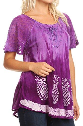 Dye Dentelle Ivanna Chemisier Flowy Batik Court Tie Violet Top Womens Sakkas Raglan amp; Manches 4fpxHq