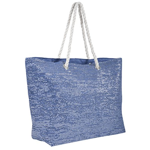 Bag Shopping Holiday Blue Sparkle Woven Paper Ladies Shoulder Tote Beach Straw Ht6xnwa
