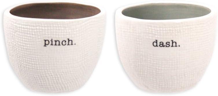 Rae Dunn Magenta Salt and Pepper Cellar Set ~ Pinch and Dash ~ 2 Piece Stoneware